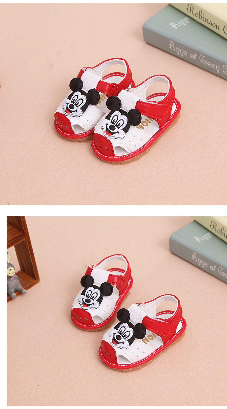 17 New Arrival Summer Baby boys Sandals mickey Toddler Kids soft sole Shoe baby singing shoes Baby girls Shoes Soft Leather 15