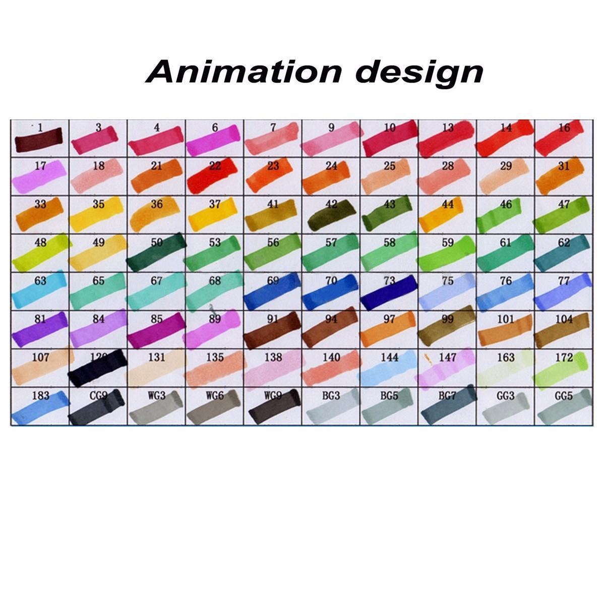 TouchFive 80 couleurs Marqueur Stylo marqueur Double Pointe Stylo Noir pour la Conception D'animation