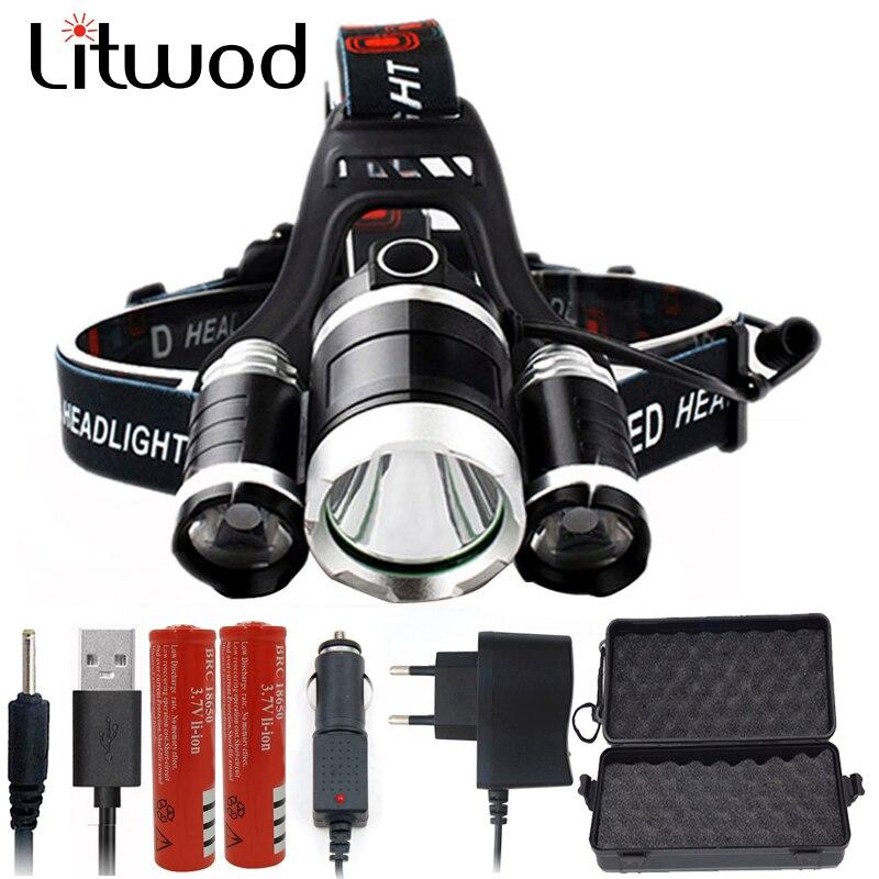 Litwod DZ30 3 T6 9000LM XM-L2 T6 LED faro delantero 9000LM lámpara de luz de la cabeza frontal linterna Antorcha de la batería AC cargador