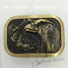 Fashion Unique Solid brass Eagle belt buckle 78*54mm 145g Rectangular Yellow Metal For 4cm Wide Belt Men Women Jeans accessories