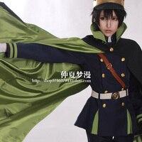 Özelleştirilmiş sonu cosplay film Seraph Yuichiro Hyakuya askeri üniforma cosplay kostüm ile şapka ve pelerin hediye peruk