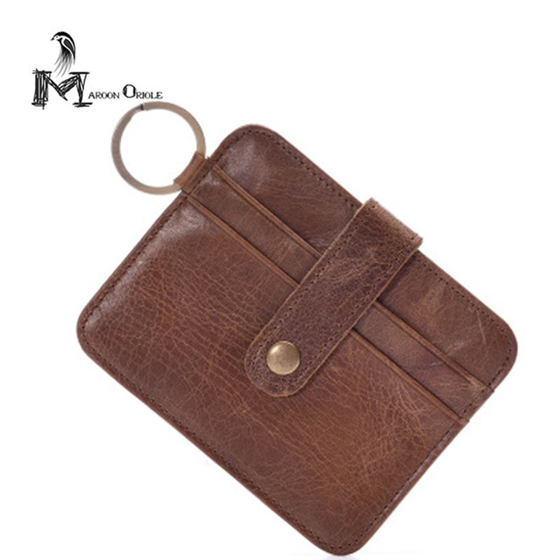 Mens Card Slot Genuine Leather Wallet for Card Casual Credit Card ID Holder Slim Money Clips Bill Holder