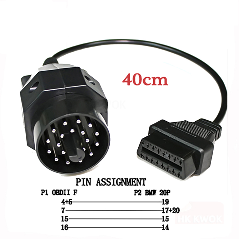20pin Adapter Tool cable For <font><b>bmw</b></font> <font><b>20</b></font> <font><b>pin</b></font> Male TO 16PIN Female <font><b>OBD2</b></font> Cable Car Auto Diagnostic Connector image