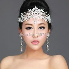 2016 venta caliente vestido de novia de Cristal Vinchas Vinchas Joyería Pelo de las mujeres Cabeza de cristal accesorios de la Boda Tiaras Y Coronas Cadena