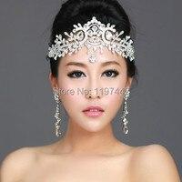 2017 venta caliente vestido de novia de Cristal Vinchas Vinchas Joyería Pelo de las mujeres Cabeza de cristal accesorios de la Boda Tiaras Y Coronas Cadena