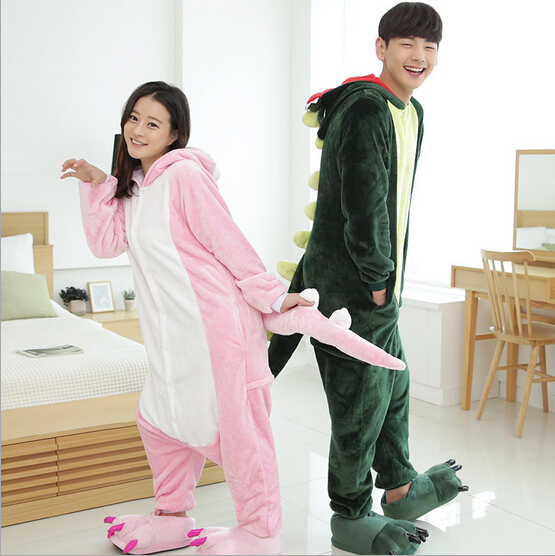 Spring Autumn Winter Flannel Couples Women Men Animal Pajamas One Piece Cartoon Dinosaur Sleepwear Cheap For Adult