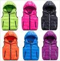 Menino e menina do inverno para baixo do colete Casacos Casacos Coletes & Coletes das crianças blusão de algodão Eiderdown casacos 11 color & 110-160