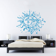 Creative Vinyl Wall Sticker Sun Moon Crescent Dual Ethnic Stars Symbol Sunshine Fashion Style Mural Home Art Decor Y-888