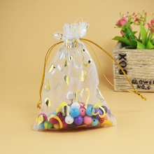 Gold Coronary heart Organza Baggage Wholesale 100pcs White Clear Tull Packaging Baggage For Jewellery Show Present Storage Boutique Procuring Bag