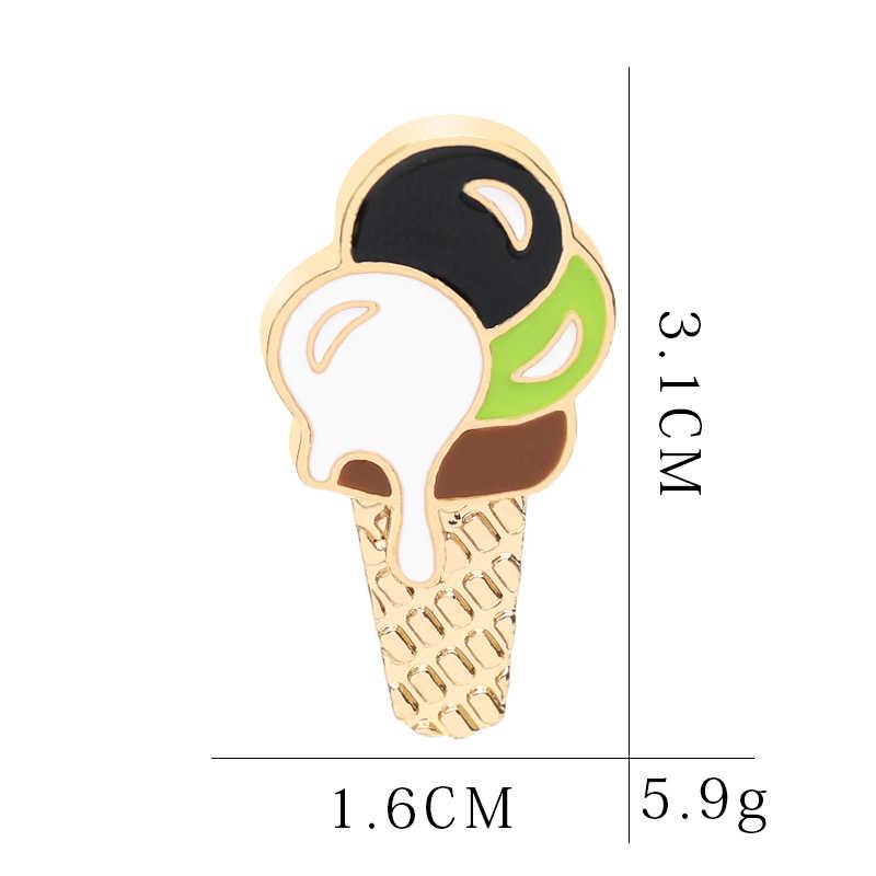 3 Warna Es Krim Pin dan Bros Makanan Penutup Makanan Kerah Pin Kartun Enamel Pin Bros Manis Tabung Bros Lampu penyegaran