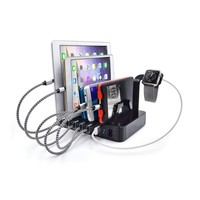 6 Ports USB Desk Charging Dock 8 Slot Travel Fast Charger Hub For Smartphones And Tablets With Short Cables for Phone iPhone
