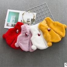 Новинка года, осенне-зимнее пальто корейский Детский плюшевый кардиган с кроличьими ушками для девочек, от 1 до 3 лет