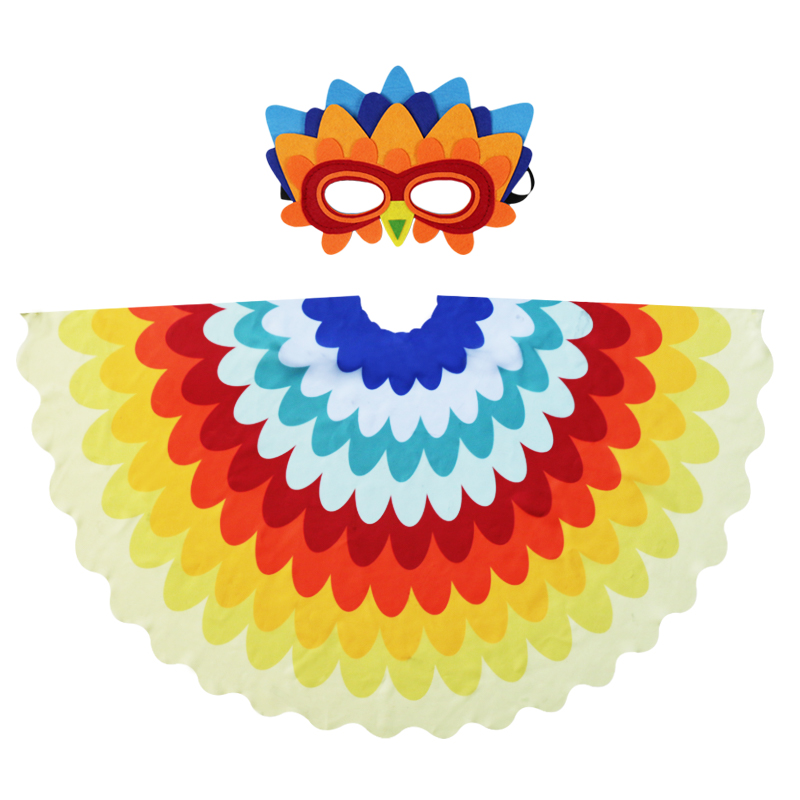 D.Q.Z 120*70 cm Small Peacock Wing Mask Kids Costumes Toys Animal Cosplay Christmas Gifts Party Games
