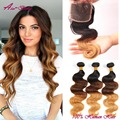 Hot ombre cabelo brasileiro com fecho de 3 Pacotes com Fecho Ombre cabelo humano Brasileiro Onda Do Corpo Do Cabelo Virgem Com Rendas fechamento
