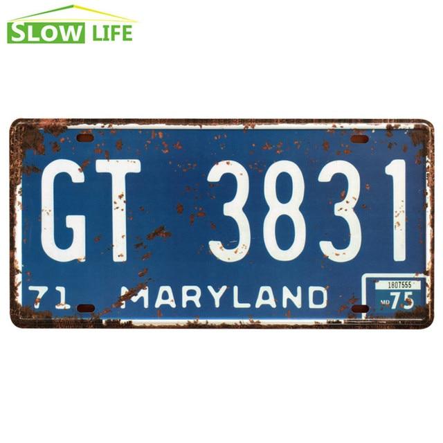Maryland GT 3831 Car Metal License Plate Tin Sign Vintage Home Decor Bar Decorative Retro Plaque