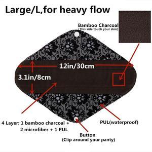 Image 5 - [Sigzagor]S M L XL Cloth Menstrual Pad Sanitary Bamboo Charcoal Reusable Washable Panty Liner Regular Overnight