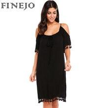 FINEJO Women Casual Off Shoulder Loose Tassel Dress Adjustable Lace-up Boat Neck Solid Half Sleeve Summer Dresses Vestidos