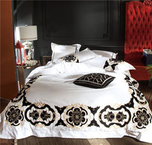 100S Egyptian Cotton White Black Embroidery Luxury Royal Bedding set Queen King size 4/6PcsDuvet cover Bed sheet linen set(China)