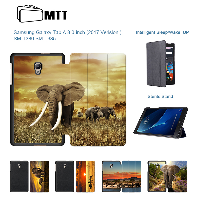 Ultra Slim PU Leather Elephant Case For fundas tablet samsung galaxy tab a 8 inch Tablet T380 T385 2017 Flip Stand Case Cover