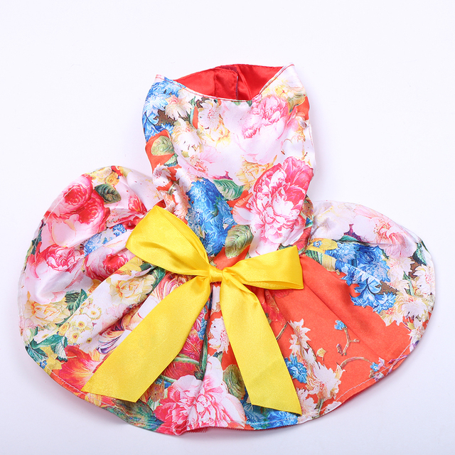 Girl Dog Pet Floral&Bow Dress Tutu Cat Puppy Shirt Skirt Dresses Summer Apparel 4 Colours