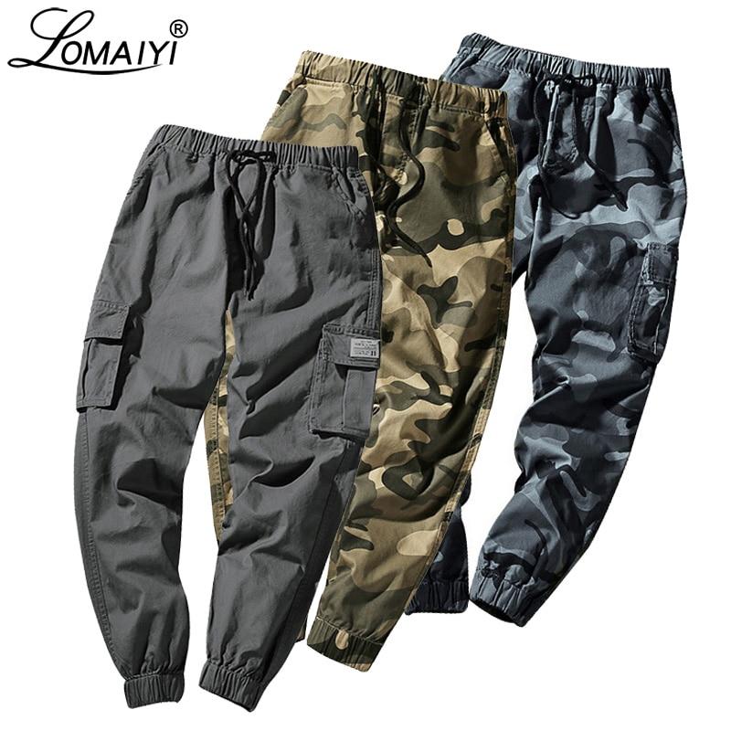 LOMAIYI M-7XL Mens Cargo Pants Camo Joggers Men Pants Men's 2019 Spring Camouflage Streetwear Hip Hop/Harem Pants For Man BM278