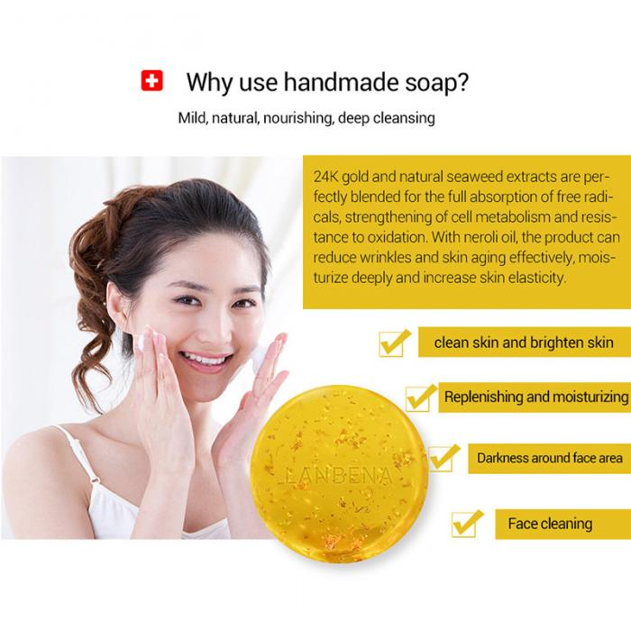 Handmade Soap - Whitening Moisturising Gold Foil Facial Skin Care - Deep Cleansing Anti-Wrinkle 26