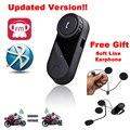 Envío Libre!! 2016 Versión Actualizada!! T-COM 800 M Interphone Bluetooth Casco de La Motocicleta Intercom Auricular Auriculares con Radio FM