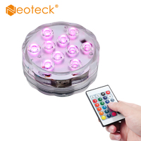 10 Leds RGB Multi Color Led Lamp With Remote Control For Underwater Pond Aqua Mood Submersible