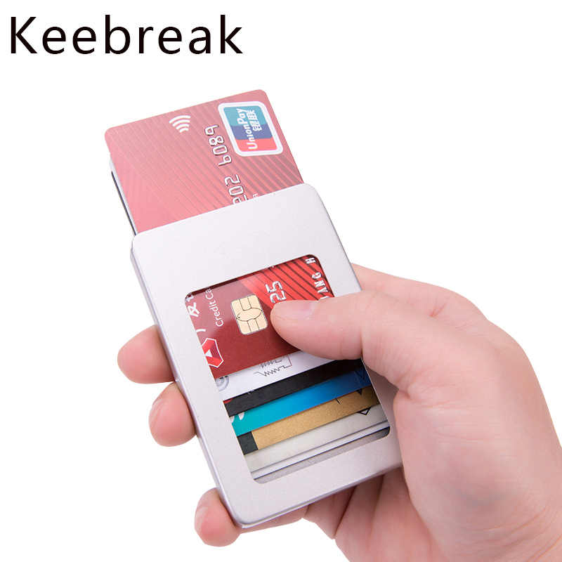KEEBREAK RFID man credit card holder wallet case aluminum business bank id box metal automatic cardholder purse minimalist