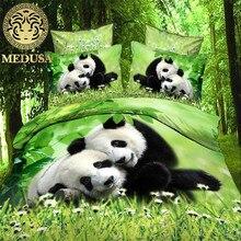 Medusa 3d panda digital bedding set duvet cover bed sheet pillow cases 4pcs queen size bed linen set