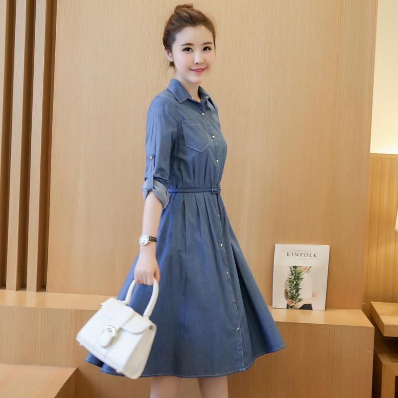 541661ff25fa7 شحن مجاني 2016 جديد الكورية أزياء طويلة الأكمام الدنيم اللباس الخريف ضئيلة  الجينز لباس المرأة زائد الحجم اتجه لأسفل عارضة فساتين