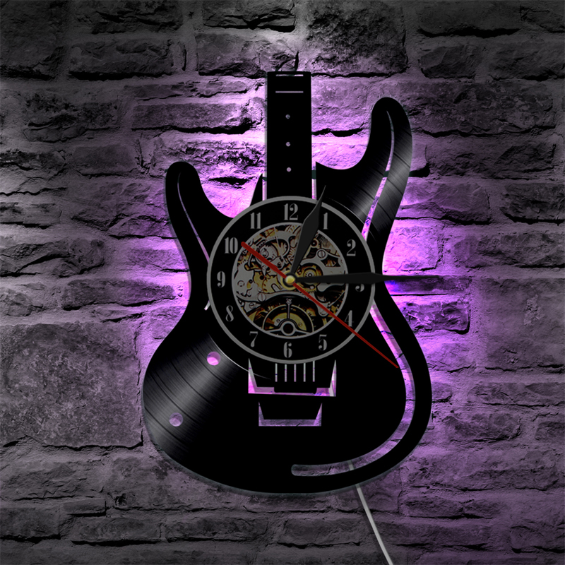 Vinyl Record LED Wall Clock Modern Design Music Theme Guitar Clock Wall Watch Home Decor Musical Instruments Gift For Music Love