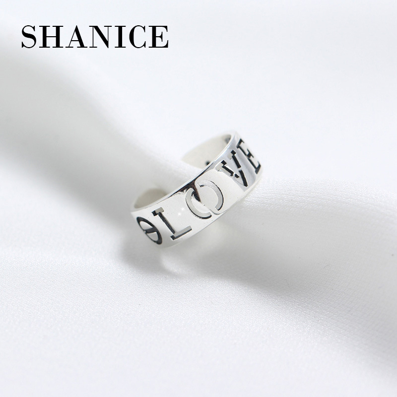 SHANICE Sterling Silver Jewelry Trendy Silver 925 Rings for Women Ladies Hollow Love Lovers Open Finger Ring Female Anel