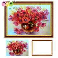 DPF 5D Diamond Embroidery Red Poppies With Frame Diamond Painting Cross Stitch Full Round Diamond Mosaic