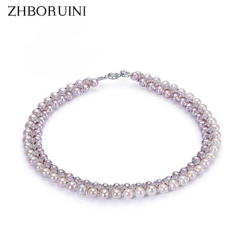 ZHBORUINI Fashion Necklace Pearl Jewelry Natural Freshwater Pearl Yuanyuan Gao 925 Sterling Silver Jewelry For Women Wedding GifZHBORUINI Fashion Necklace Pearl Jewelry Natural Freshwater Pearl Yuanyuan Gao 925 Sterling Silver Jewelry For Women Wedding Gif