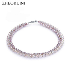 ZHBORUINI Fashion Necklace Pearl Jewelry Natural Freshwater Pearl Yuanyuan Gao 925 Sterling Silver Jewelry For Women Wedding Gif