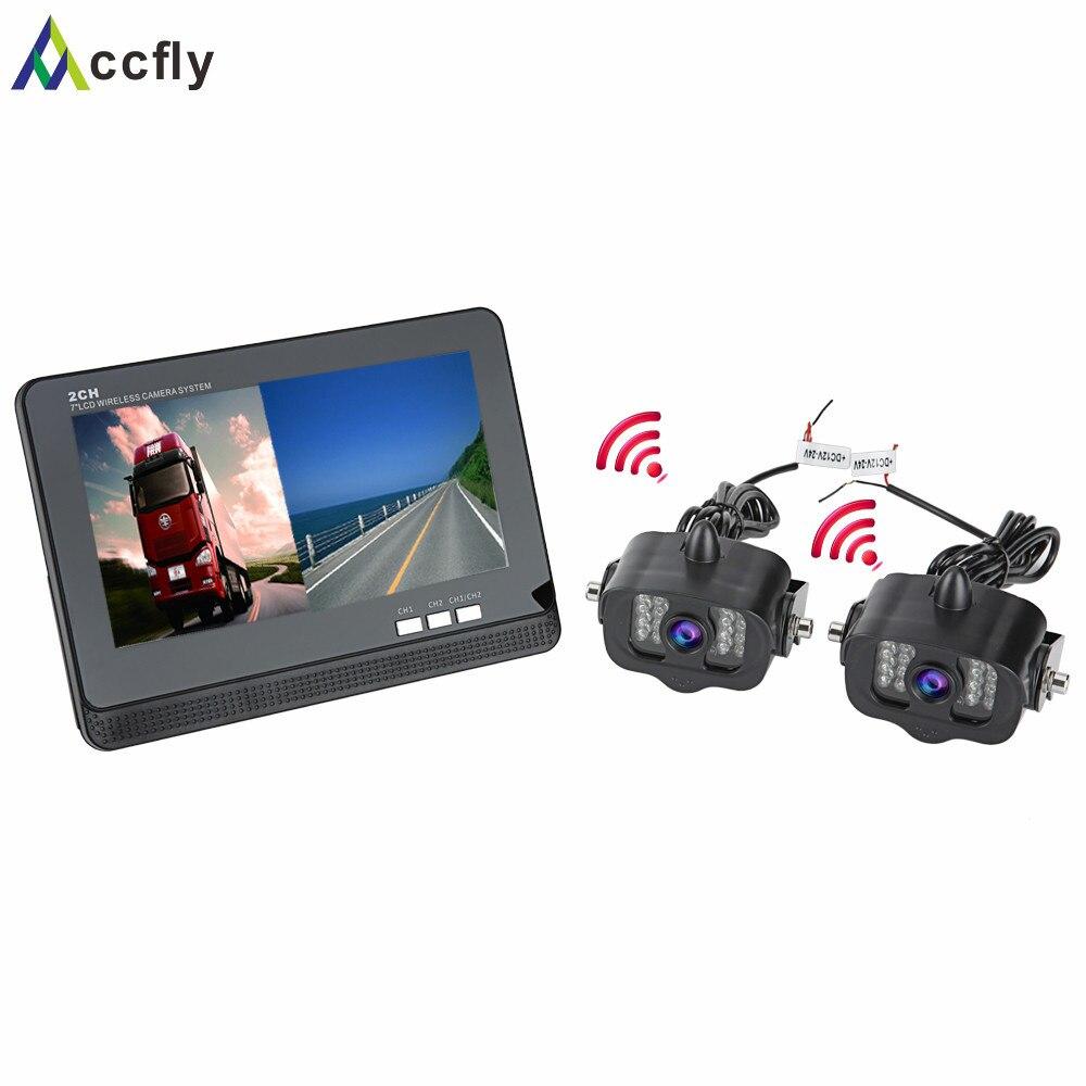 imágenes para Accfly revertir visión trasera cámara de reversa sin hilos para camiones y autobuses excavadora Caravana RV Remolque con 2CH 7 pulgadas TFT LCD Monitor