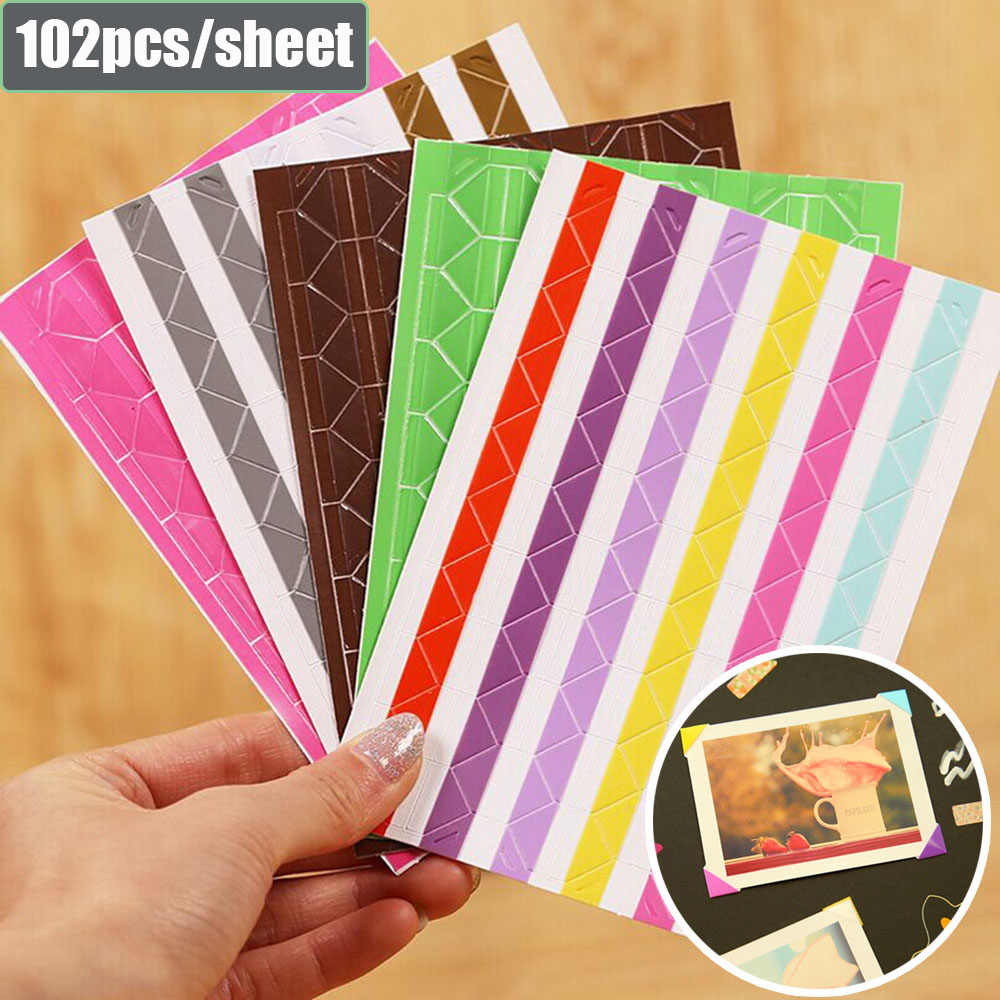 102 PCS/Sheet New PVC Stickers DIY Colorful Corner Scrapbook Paper Photo Albums Frame Picture Decoration Photo Corner Protector