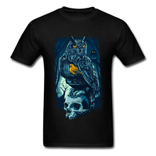 Owl Skull T Shirts For Men High Street Design T-shirts Rife Summer Tops Tees Crewneck Autumn Cotton Short Sleeve Clothes Black