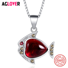 AGLOVER 925 Sterling Silver Necklace AAA Red Crystal Ruby Fish Pendant Woman Jewelry