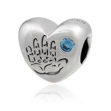 Bebé Azul de la CZ Adapta Pandora Charms Pulsera Corazón Los Niños de cristal de Los Granos DIY 925 Cuentas de Plata Esterlina Para La Joyería haciendo