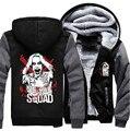 EUA tamanho do Esquadrão Suicida Joker Harley Quinn Cosplay Casaco Moletom Com Capuz Inverno Fleece Unisex Engrossar Jaqueta Com Capuz