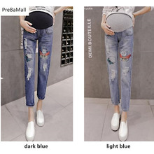 Maternity Jeans Maternity Pants Clothes For Pregnant Women Trousers Nursing Worn Embroidery Belly Jeans Pregnancy Clothing E0035 недорого