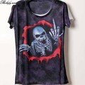 Women T Shirt summer 321 color 3D printing Skull lady short sleeve T Shirt