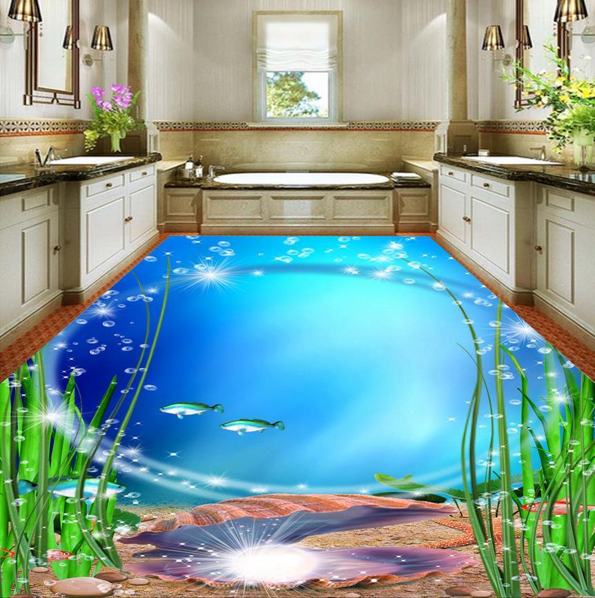 Modern Custom 3D Floor Mural Bathroom Exquisite Marine