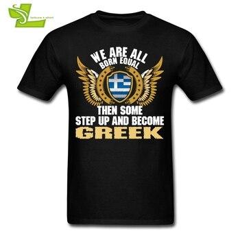 우리는 모두 평등하게 태어났다. 그러면 몇 가지 단계와 그리스어 맨 쉴드 플래그 T 셔츠 탑 남성 Tshirt Teenage Latest Clothes 그리스