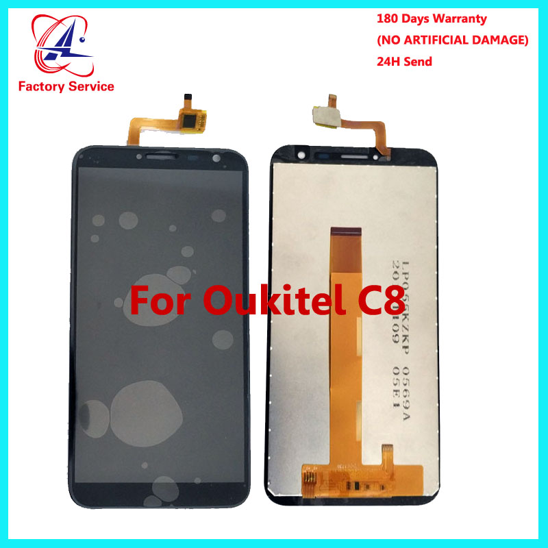 For 100 Original Oukitel C8 LCD Display Touch Screen Panel Digital Replacement Parts Assembly 5 5