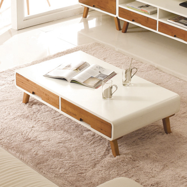 Show Homes White Paint Wood Coffee Table Nordic Creative Modern Minimalist Small Apartment Living Room End