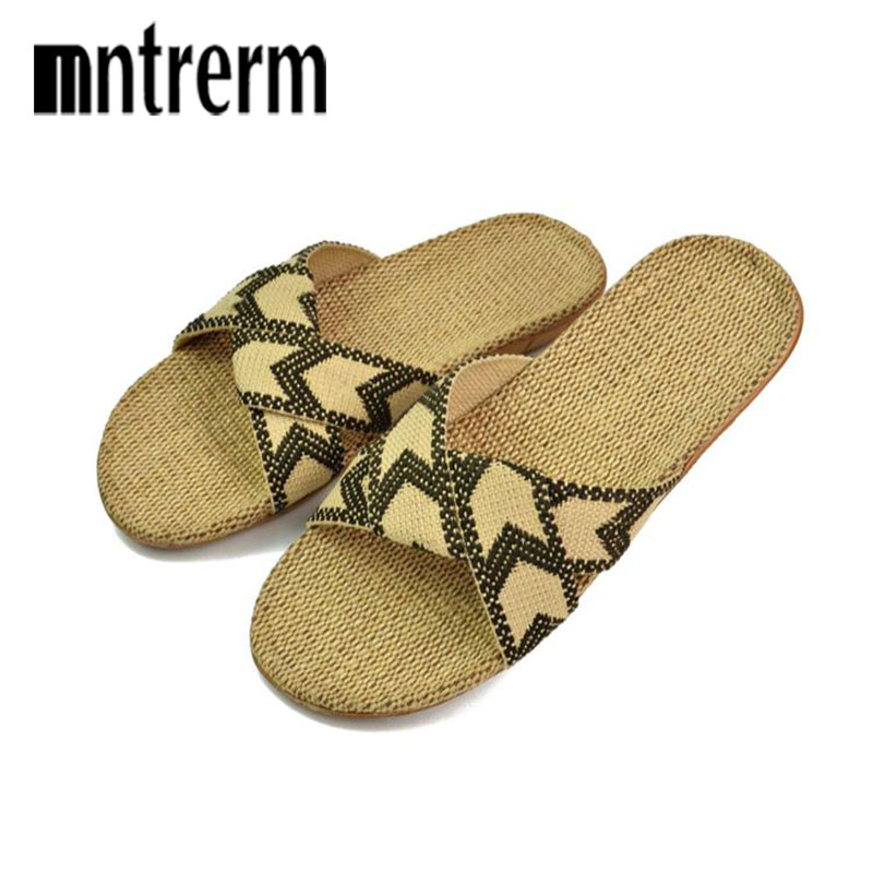 Mntrerm High Quality Summer Linen Home Slippers Candy Colors Flax Slippers Men Slippers Home Shoes Large Size linen shoes