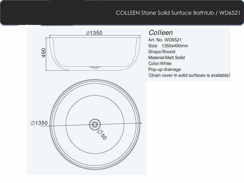 1350x490 ملليمتر الصلبة سطح الحجر cupc موافقة كوريان حوض طليق المستديرة مات أو لامعة التشطيب حوض RS6521